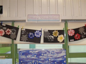 The finished products on display above our winter wonderland