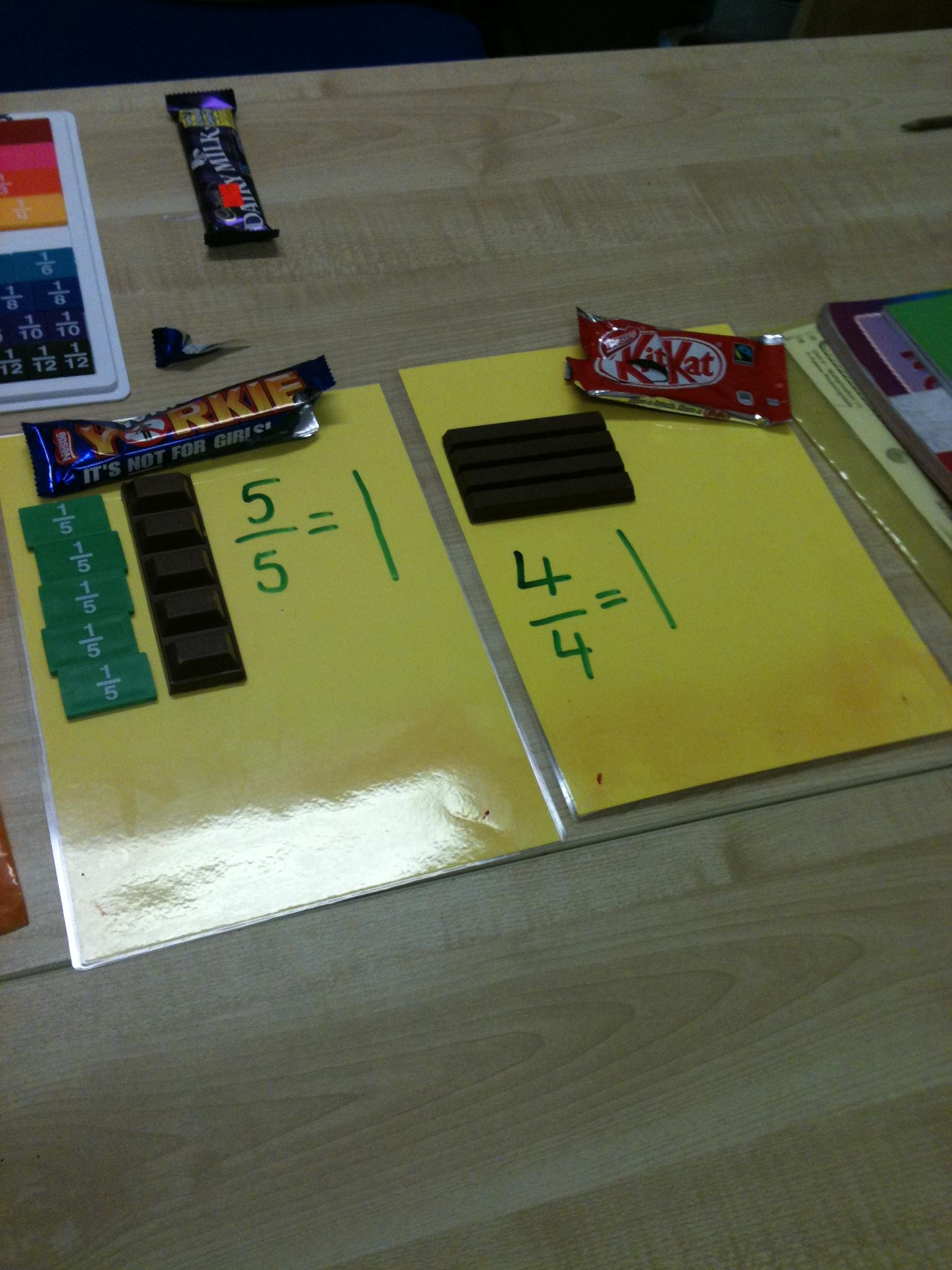 5/5 Yorkie chocolate fraction, 4/4 Kit Kat chocolate fraction